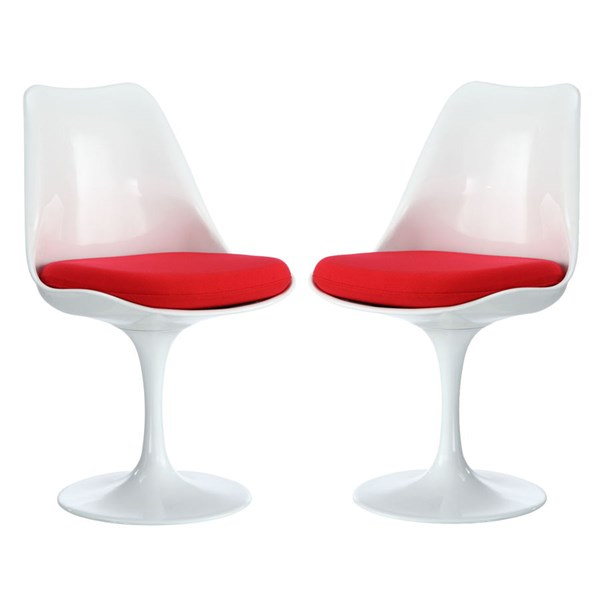2 Lippa Modern Red Plastic Dining Side Chairs EEI-1343-RED