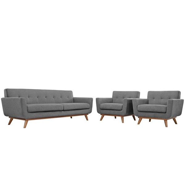 Engage Gray Fabric Wood Armchairs & Sofa Set EEI-1345-GRY