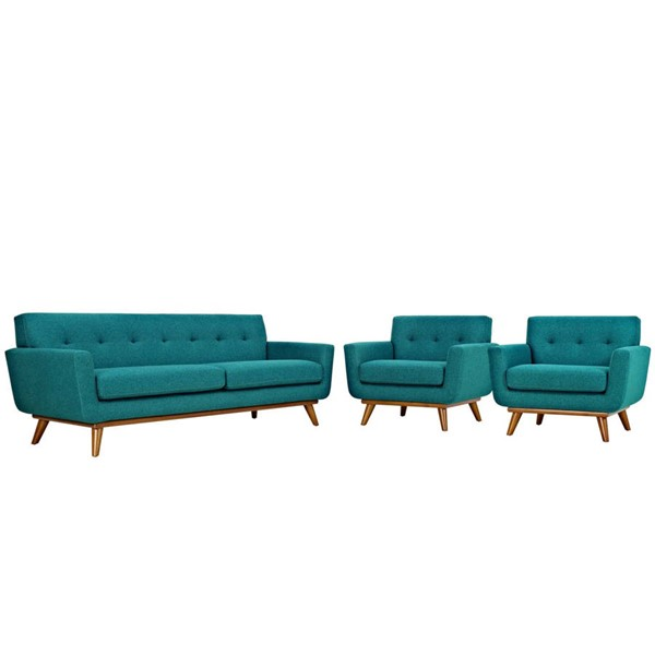 Modway Furniture Engage Teal 3pc Armchairs and Sofa Set EEI-1345-TEA