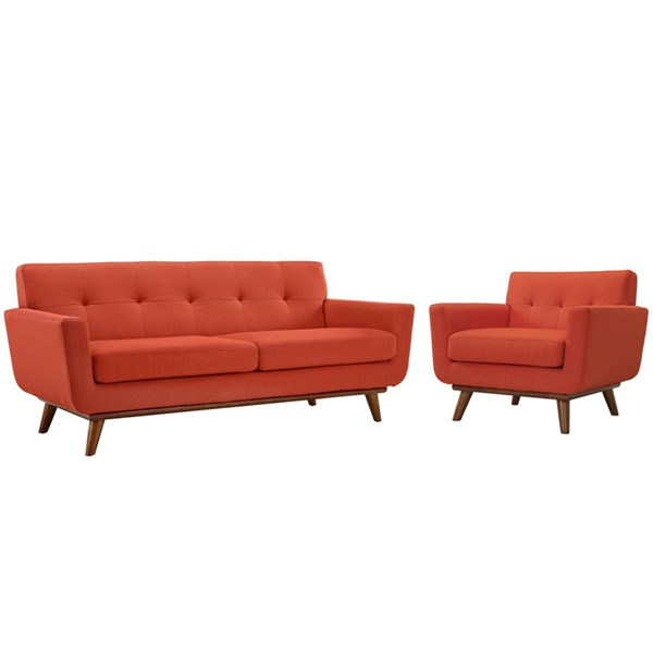 Engage Atomic Red Fabric Wood Armchair & Loveseat Sets EEI-1346-SET-VAR