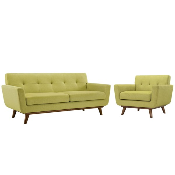 Engage Wheatgrass Fabric Wood Armchair & Loveseat Set EEI-1346-WHE