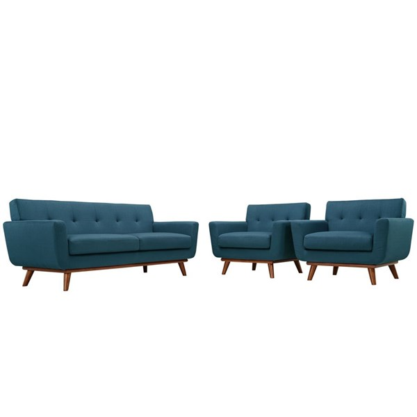Engage Azure Fabric Wood Armchairs & Loveseat Sets EEI-1347-SET-VAR