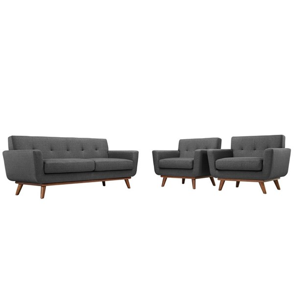 Engage Gray Fabric Wood Tufted Back Armchairs & Loveseat Set EEI-1347-DOR