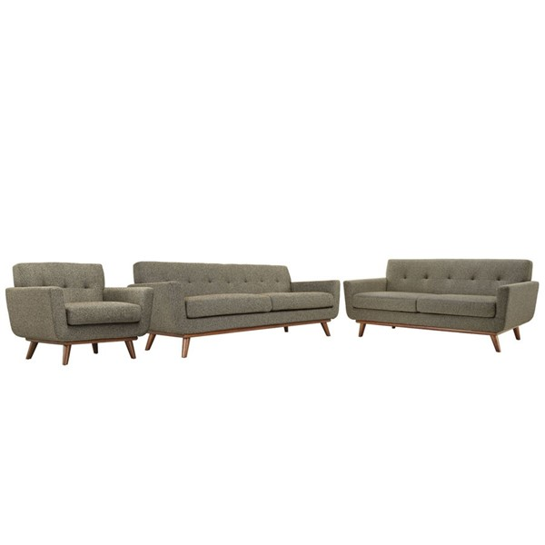 Engage Oatmeal Fabric Wood Sofa Loveseat & Armchair Set EEI-1349-OAT