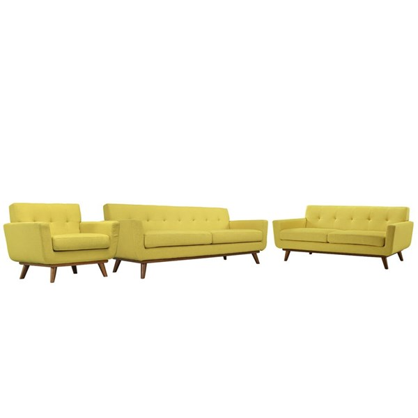 Engage Sunny Fabric Wood Sofa Loveseat & Armchair Set EEI-1349-SUN
