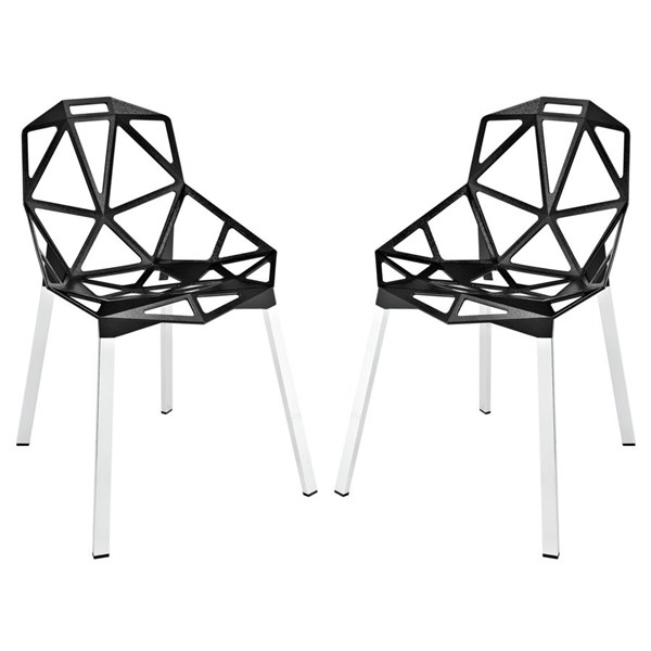 Connections Modern Black Aluminum Dining Chairs EEI-1358-DR-CH-VAR