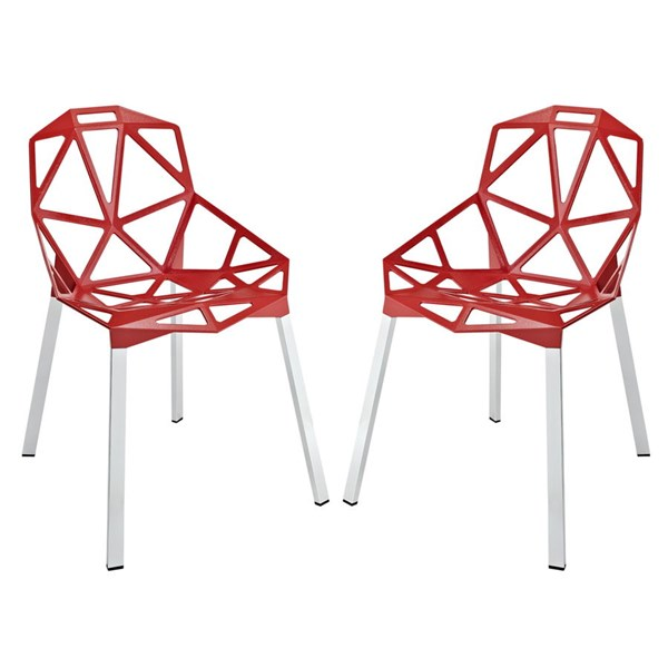 2 Connections Modern Red Aluminum Dining Chairs EEI-1358-RED