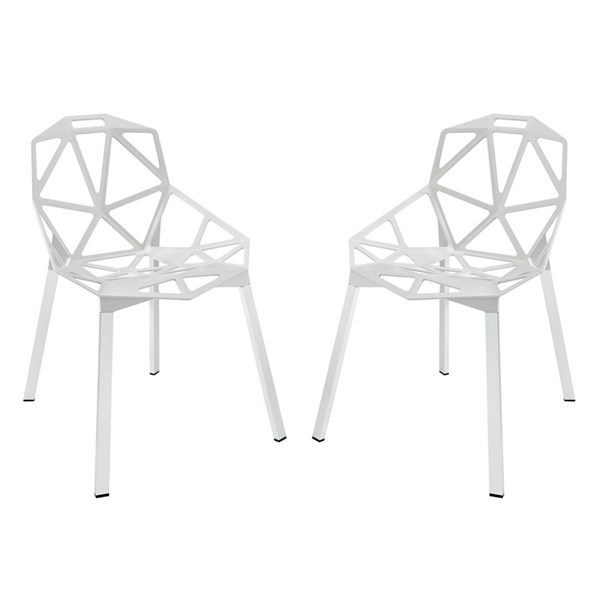 2 Connections Modern White Aluminum Dining Chairs EEI-1358-WHI
