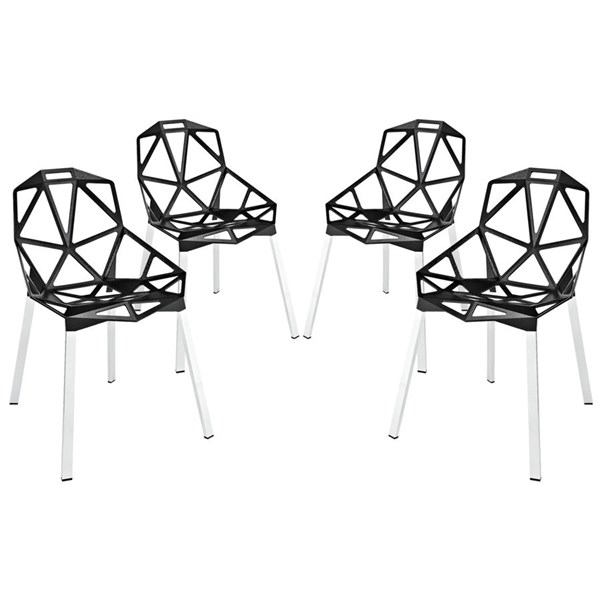 4 Connections Modern Black Aluminum Dining Chairs EEI-1359-BLK