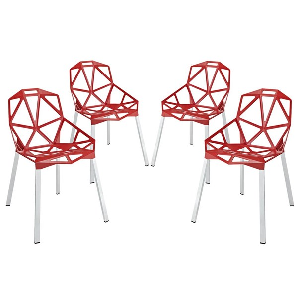 4 Connections Modern Red Aluminum Dining Chairs EEI-1359-RED