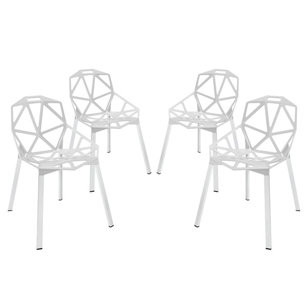 4 Connections Modern White Aluminum Dining Chairs EEI-1359-WHI