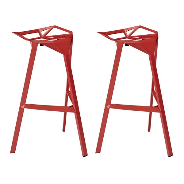 2 Launch Modern Red Aluminum Stacking Bar Stools EEI-1362-RED