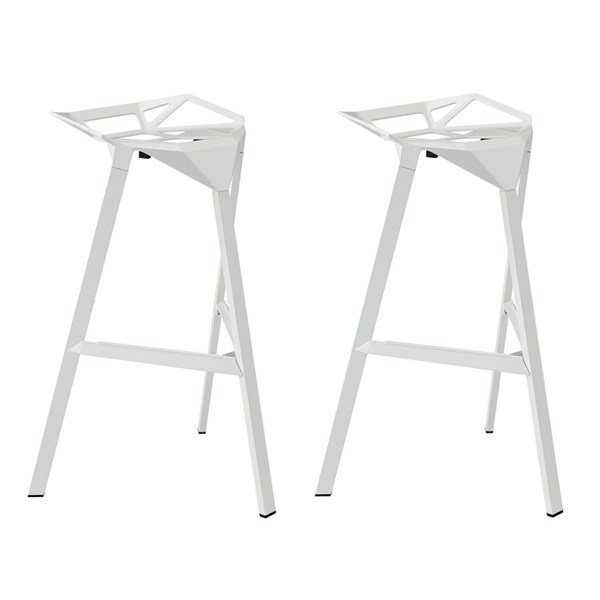 2 Launch Modern White Aluminum Stacking Bar Stools EEI-1362-WHI