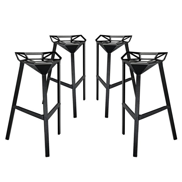 4 Launch Modern Black Aluminum Stacking Bar Stools EEI-1363-BLK
