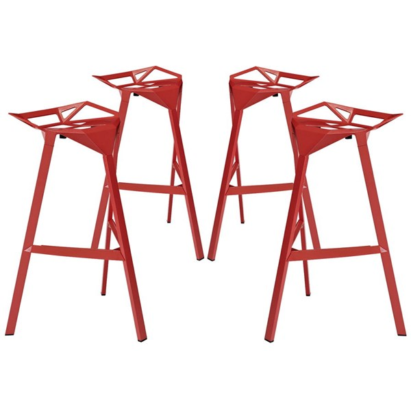 4 Launch Modern Red Aluminum Stacking Bar Stools EEI-1363-RED