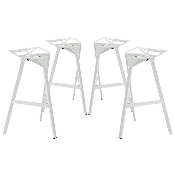 4 Launch Modern White Aluminum Stacking Bar Stools EEI-1363-WHI