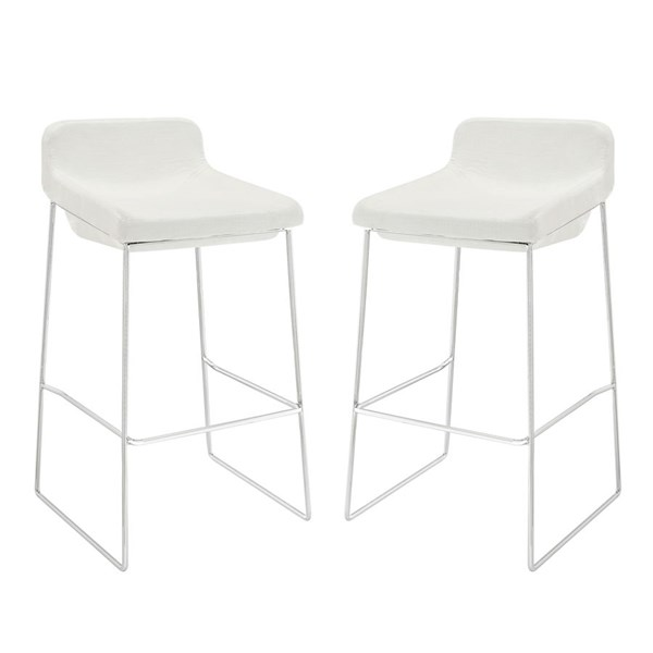2 Garner Modern White Fabric Steel Bar Stools EEI-1364-WHI