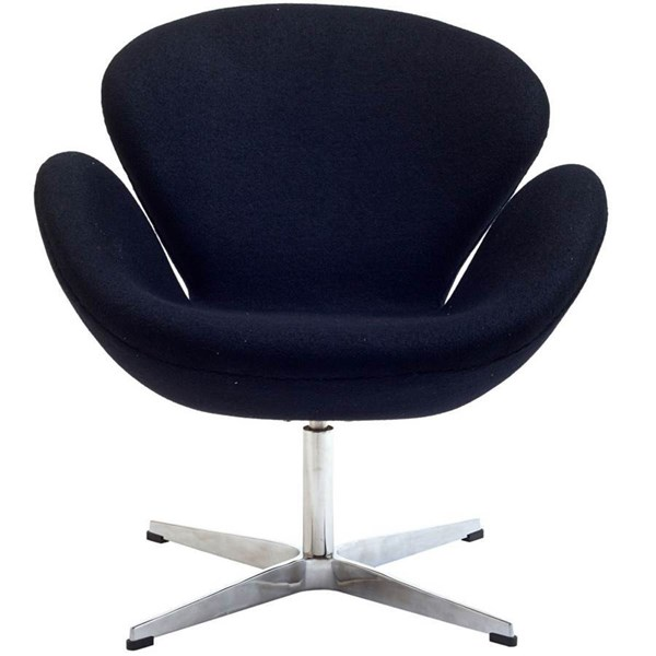 Black Wool Upholstery With Aluminium Legs Wing Lounge Chair EEI-137-BLK