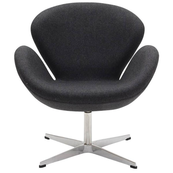 Dark Gray Wool Upholstery With Aluminium Legs Wing Lounge Chair EEI-137-DGR