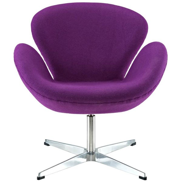 Purple Wool Upholstery With Aluminium Legs Wing Lounge Chair EEI-137-PRP