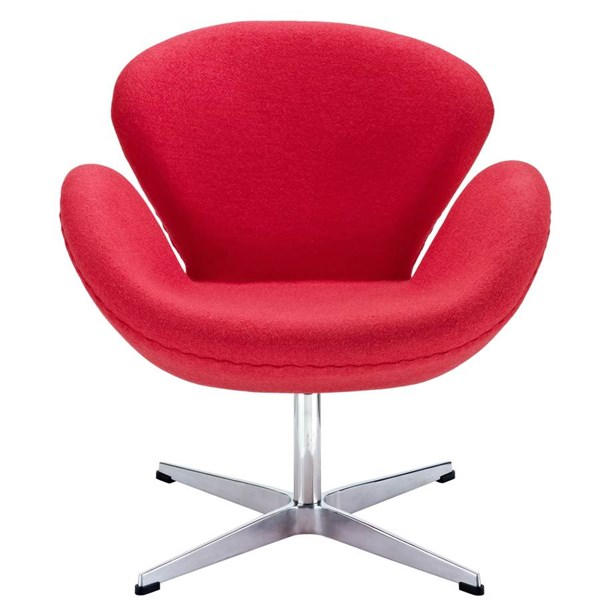 Red Wool Upholstery With Aluminium Legs Wing Lounge Chair EEI-137-RED