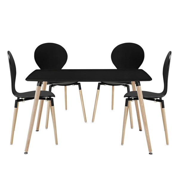 Path Modern Black Fiberboard Solid Wood Legs 5pc Dining Room Set EEI-1371-BLK