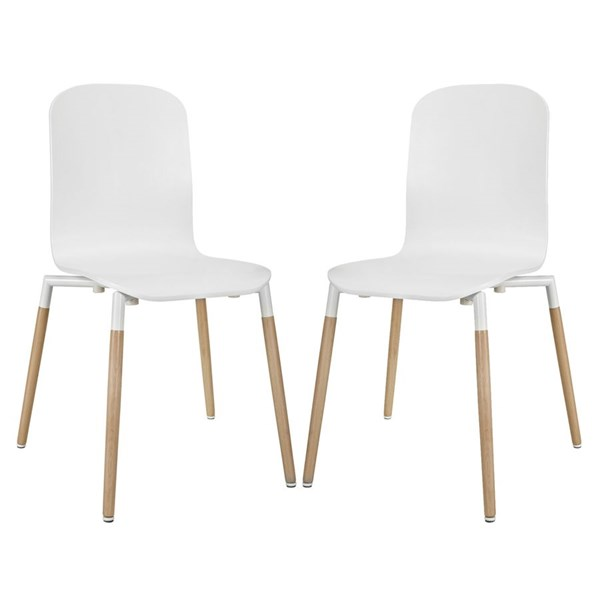 2 Modway Furniture Stack White Dining Chairs EEI-1372-WHI