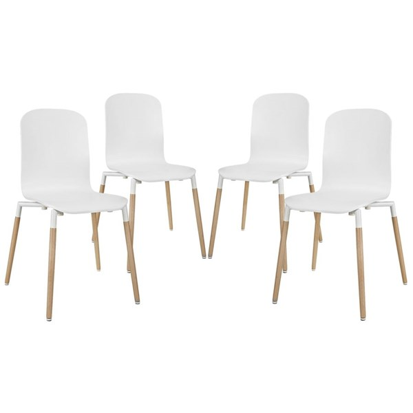 4 Modway Furniture Stack White Dining Chairs EEI-1373-WHI