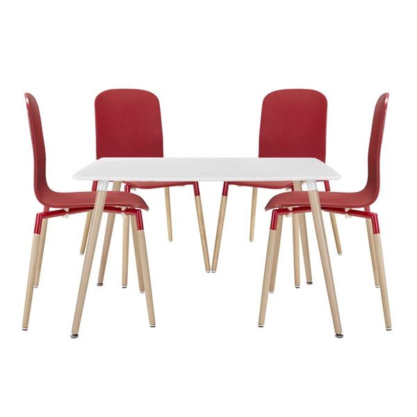 Stack Modern Red Solid Wood Steel 5pc Dining Set EEI-1375-RED