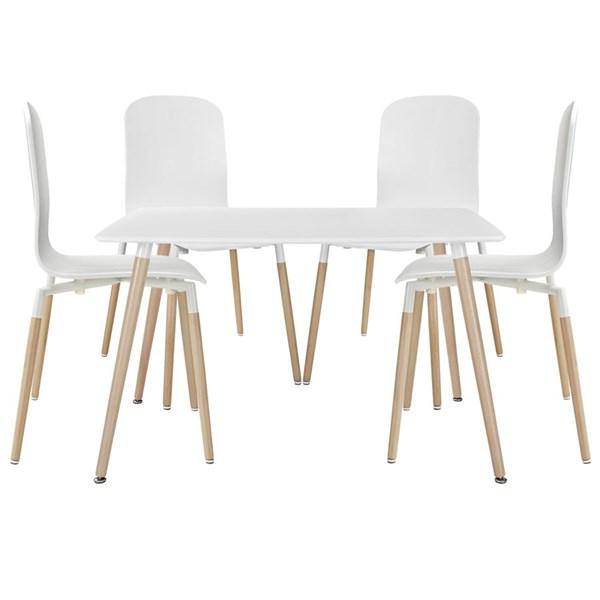 Stack Modern White Solid Wood 5pc Steel Dining Set EEI-1375-WHI