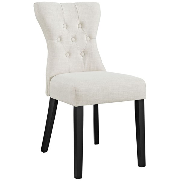 Silhouette Modern Beige Wood Fabric Dining Side Chairs EEI-1380-DR-CH-VAR