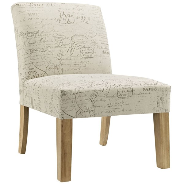 Auteur Vintage White Fabric Solid Wood Side Chair EEI-1400-WHI