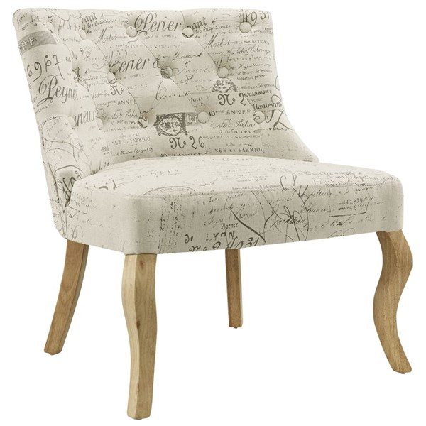 Royal Vintage White Fabric Solid Wood Armchair EEI-1402-WHI