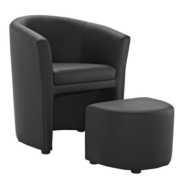 Divulge Modern Black Faux Leather Solid Wood Armchair & Ottoman Set EEI-1407-BLK