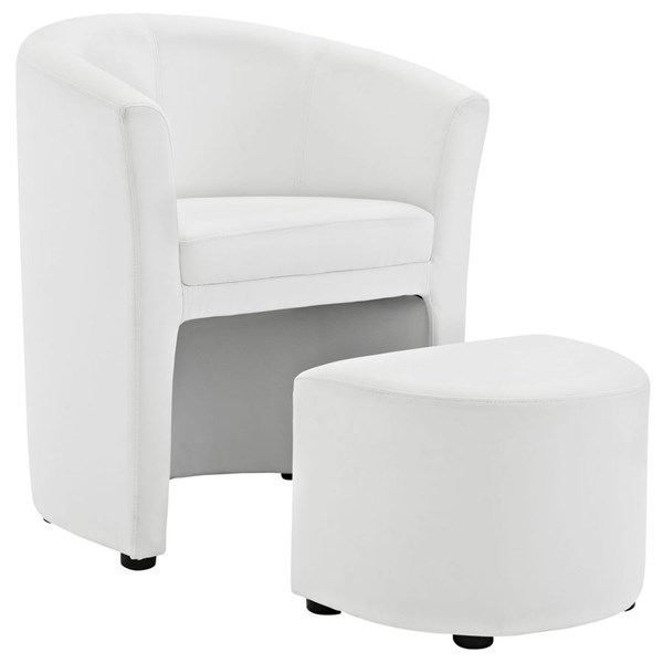 Divulge Modern White Faux Leather Solid Wood Armchair & Ottoman Set EEI-1407-WHI