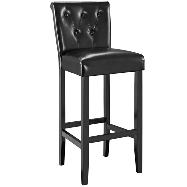 Tender Black Solid Faux Leather Wood Bar Stool EEI-1415-BLK
