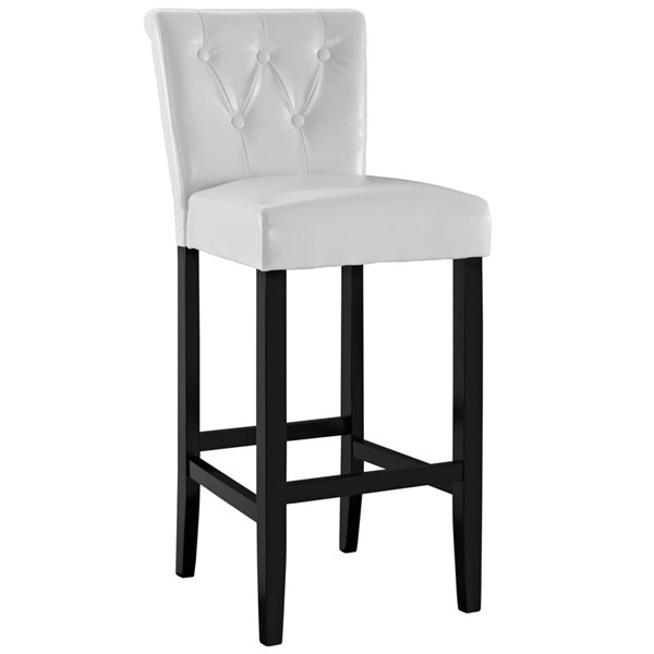 Tender White Solid Faux Leather Wood Bar Stool EEI-1415-WHI