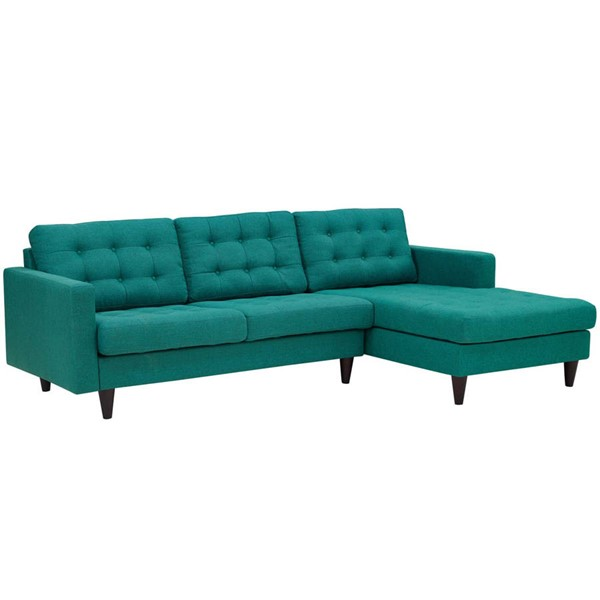 Modway Furniture Empress Teal Fabric Right Facing Sectional EEI-1416-TEA
