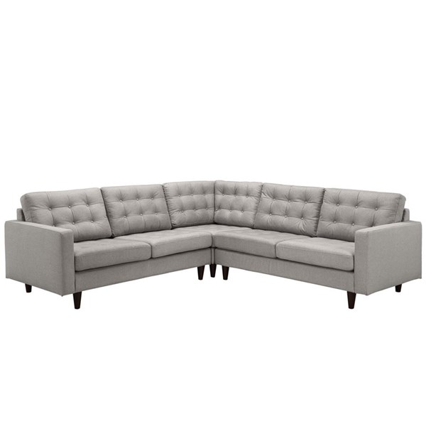 Empress Light Gray Fabric Solid Wood 3pc Sectional EEI-1417-LGR