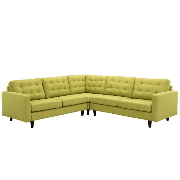 Empress Wheatgrass Fabric Solid Wood 3pc Sectional EEI-1417-WHE