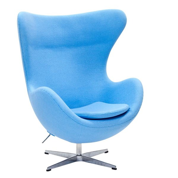 Baby Blue Wool Upholstery With Aluminium Legs Glove Lounge Chair EEI-142-BBL