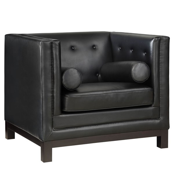 Imperial Modern Black Bonded Leather Solid Wood Armchair EEI-1420-BLK