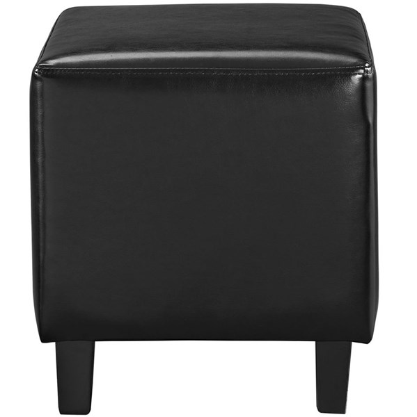 Lodge Contemporary Black PU Solid Wood Ottoman EEI-1428-BLK