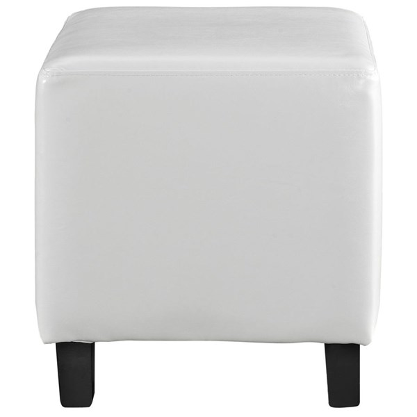 Lodge Contemporary White PU Solid Wood Ottoman EEI-1428-WHI