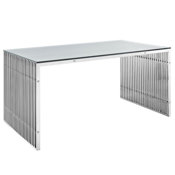 Gridiron Modern Silver Glass Stainless Steel Dining Table EEI-1433-SLV