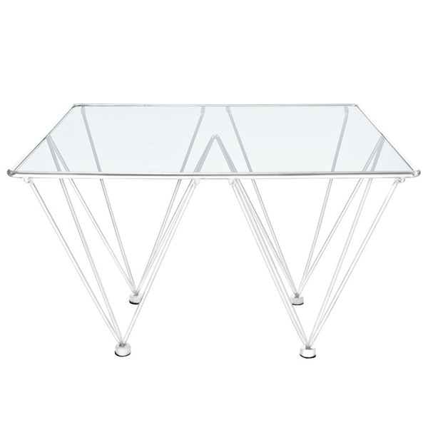 Prism Contemporary Silver Glass Steel Square Coffee Table EEI-1437-SLV