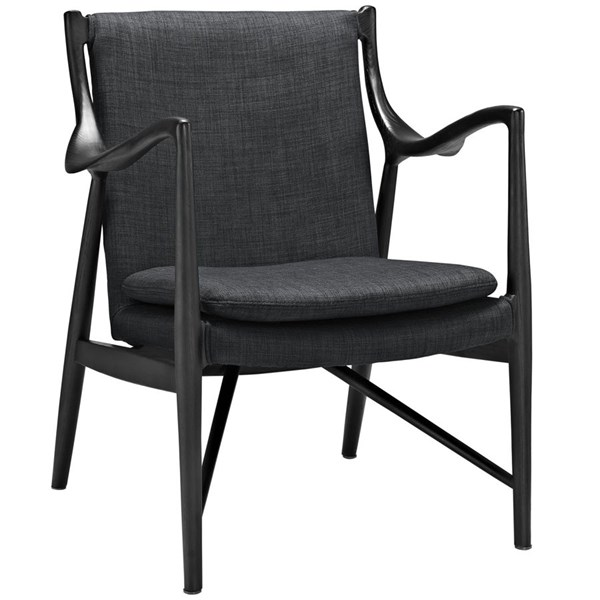 Makeshift Modern Black Gray Fabric Solid Wood Upholstered Lounge Chair EEI-1440-BLK-GRY