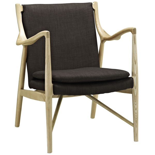 Makeshift Modern Natural Brown Fabric Wood Upholstered Lounge Chair EEI-1440-NAT-BRN