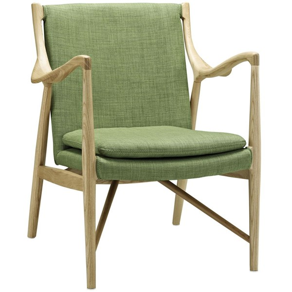 Makeshift Modern Natural Green Fabric Wood Upholstered Lounge Chair EEI-1440-NAT-GRN