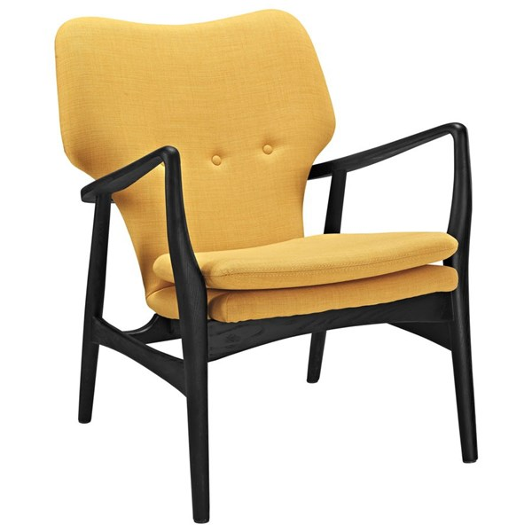Heed Modern Black Yellow Fabric Solid Wood Lounge Chair EEI-1442-BLK-YLW